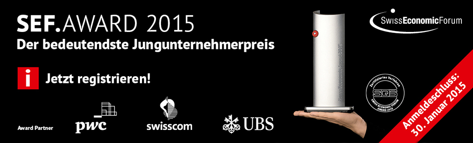 Registration is now open for the 2015 Swiss Economic Award. Courtesy: SEF