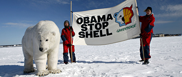 Environmentalists are upset that Obama has paved the way for Shell to drill for oil in the Arctic while at the same time pledging to cut greenhouse gas emissions by more than one-quarter over the next decade. (Photo credit: Greenpeace Finland, flickr)