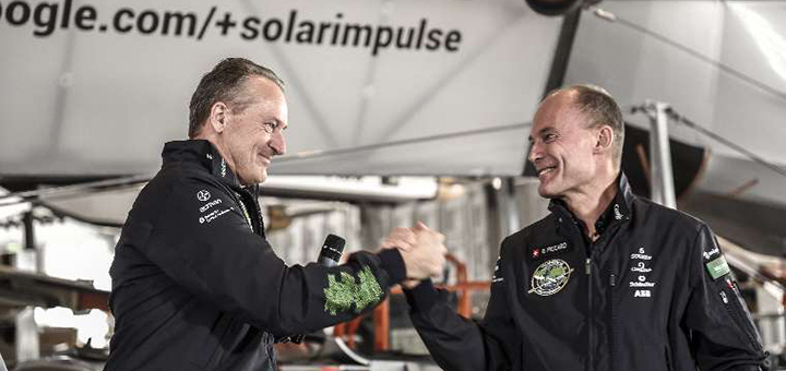 Pilots Bertrand Piccard and André Borschberg take turns at the cockpit of Solar Impulse 2 on their record-breaking round-the-world solar flight. (Image credit: © Solar Impulse | Stefatou | Rezo.ch)